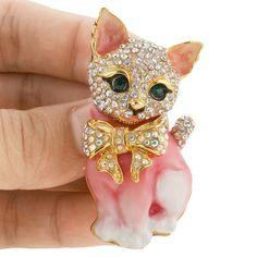 Amazon.com: Plump 3D Cat Pet Austrian Crystal Enamel Brooch Gold-Tone Pink N03051-7: Jewelry