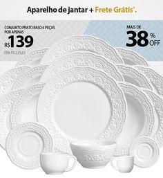 Aparelho de Jantar Madeleine Branco Porto Brasil com Frete Grátis! Aproveite e conheça outros modelos acessando o nosso site www.casadicor.com #portobrasilceramica #mesaposta #casadicor #cozinha #jogodejantar