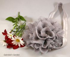 Grey Shabby Chic Chiffon and Lace Puff Flower by GabrielasGarden, £10.50