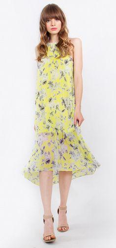 Dandelion Midi Dress – Acordian pleated midi halter dress – Button with loop on back – Lined