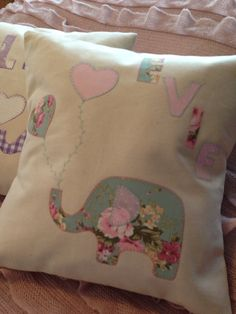 """Handmade to order personalised """"elephant and balloons"""" name cushions on Etsy, £25.00"""