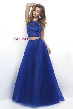 Blush Prom 11232 Sapphire Halter Two Piece Prom Dress