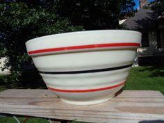 "Anchor Hocking Fire King Glass Striped Ring Vitrock 7 1/2"" Mixing Bowl"