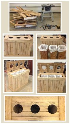 This amazing indoor recycling separator made from reclaimed materials from wood pallets a sheet of plywood is an ingenious design by Cory Spain. I wish, I