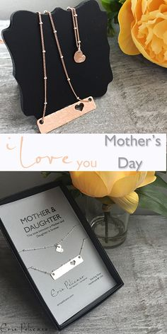 Mothers Day Gifts for Mom in sterling silver, rose gold, and fine gold. Mother Daughter Necklace Sets - all gifts for Mom