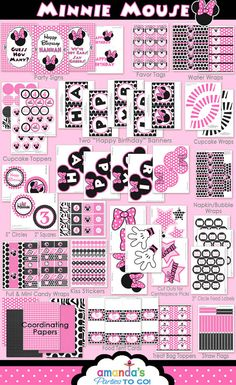 Huge Minnie Mouse party printable set - on sale!