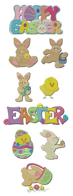 Hoppy Easter embroidery design set available for instant download at www.designsbyjuju.com