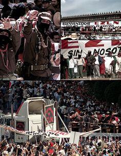 """""""Llegamos y Aquí Estamos""""  """"Rebeldes somos porque es rebelde la tierra, y hay quienes la venden y compran como si no existiera el color que somos de tierra. Es la hora de los pueblos indios, del color de la tierra, de todos los colores que abajo somos... Ciudad de México, aquí entramos, aquí estamos como rebeldes color de la tierra que grita: ¡Democracia, Libertad y Justicia!  EZ★LN en el Zocalo de Ciudad de México Marcha del Color de la Tierra 11 de Marzo del 2001…"""