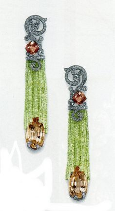 Pink Morganite, green sapphire cushion, chrysoberyl: Cartier: L'avant Biennale des Antiquiares, 2010 Earrings with matching necklace (pinned to this board) High Jewelry, Jewelry Art, Antique Jewelry, Vintage Jewelry, Jewelry Design, Jewelry Accessories, Cartier Jewelry, Jewelery, Cartier Earrings