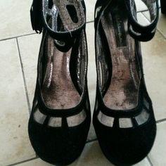 High heels Plastic insert cut out black suede high heels with tassel on the zipper, Michael Antonio Shoes Heels