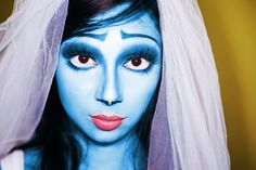 Corpse bride inspired makeup - lower lid white & lash placement