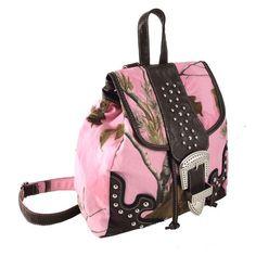 Realtree Pink Camo with Stud and Buckle Backpack  #Realtreecamo