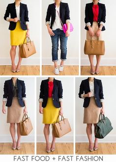 30 Outfits in a Bag: Navy Blazer - Fast Food & Fast Fashion Fast Fashion, Work Fashion, Womens Fashion, Swag Fashion, Style Fashion, Fashion Trends, Blazer Outfits For Women, 30 Outfits, Fashion Outfits
