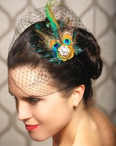 2 things I like in one...peacock feathers and birdcage veil.