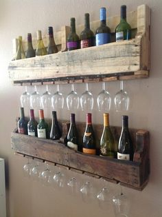 Wine bottle and glass racks.