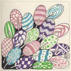 Laura Harms' weekly Zentangle challenge, week 18. Click here for info on the challenge.