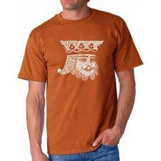 Los Angeles Pop Art Men's T-shirt - King of Spades, Size: 4XL, Orange
