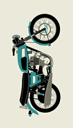 Blue 1970 Motorcycle by Methane Studios Motorcycle Posters, Motorcycle Types, Motorcycle Art, Bike Art, Royal Enfield Blue, Freestyle Motocross, Retro Graphic Design, Enfield Classic, Lux Cars