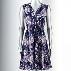 Simply Vera Vera Wang Print Crinkled Dress - Women's $45 at Khol's