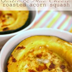 Garlic and Blue Cheese Roasted Acorn Squash. Recipe with seeds, acorn, butter, acorn, garlic, crumbled blue cheese, acorn, salt, bacon