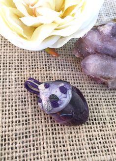 Purple  Amethyst  Gemstone Pendant  Polymer by GreenGeckoJewellery