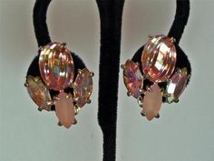 Pink SCHIAPARELLI Clip Earrings Carved Art Glass AB Rhinestones Frosted Navettes
