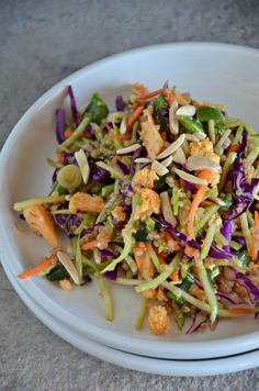 Salad - Asian Quinoa Broccoli Slaw...A gluten free and vegan alternative to the popular slaw made with ramen noodles. Loaded with fresh vegetables and quinoa, this is a perfect light lunch!