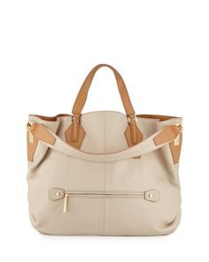 Two-Tone Leather Hobo Bag, Camel/Multi, Camel Multi - Halston Heritage
