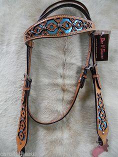 Leather turqoise metallic inlay headstall.