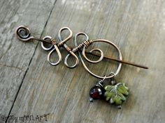 Celtic Shawl Pin. Wire Wrapped Copper Brooch with Garnet and Leaf Charm.