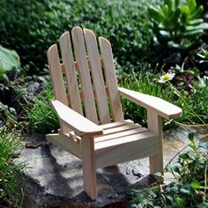 Natural Adirondack Chair. www.teeliesfairygarden.com . . . This natural Adirondack chair was first seen by a fairy while they visited the Adirondacks in New York. The fairy tried out the full-size chair and liked it despite finding it much too large for her small size. #chair