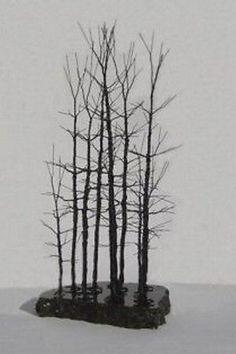 Bonsai Forest Group Metal Sculpture Black Steel Wire Art Modern Style Sculpture