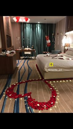 🎊Romantic Surprise for my love? 🎊Romantic Surprise for my love? Wedding Night Room Decorations, Romantic Room Decoration, Birthday Room Decorations, Romantic Bedroom Decor, Valentines Day Decorations, Valentines Diy, Bedroom Ideas, Bedroom Setup, Romantic Valentines Day Ideas