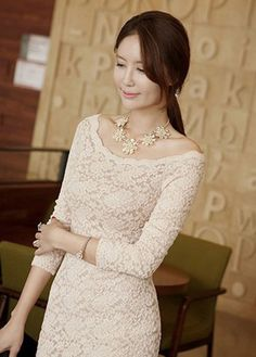 Lady Style Boat Neck Sheath Lace Dress (two colors)