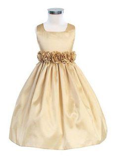 Champagne Sleeveless Hand Rolled Flower Taffeta Flower Girl Dress (Sizes Infants-12 in 13 Colors)