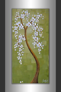 Abstract White Cherry Blossom Tree Acrylic Painting Textured Landscape Artwork 12x24 Ready to Hang Wall Decor ORIGINAL Modern Art by ZarasShop
