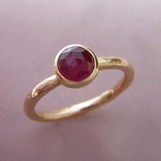 Rose Cut Ruby Ring in Hand Hammered 14k Gold | Elizabeth Scott Jewelry