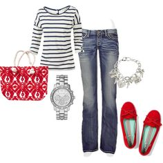 A fashion look from July 2013 featuring Fat Face t-shirts, BKE jeans and Keds flats. Browse and shop related looks.