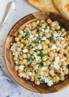 Chickpea Salad Recipe with Feta and Lemon Vinaigrette
