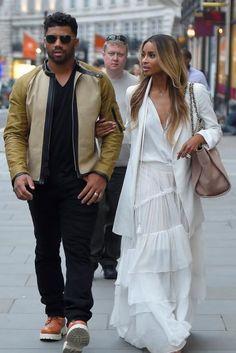 Ciara wearing Stuart Weitzman Nieta Sandals and Chanel Linen Logo Tote