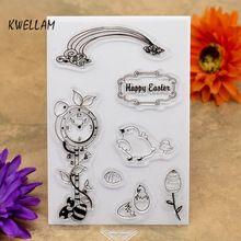 Happy Easter Egg Chick Scrapbook DIY fotografických karet účtu Razítko clear stamp transparentní razítko 10x15cm KW6121001 (Čína (pevninská část))