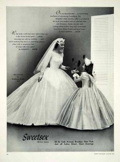 1956 Ad Vintage Wedding Gown Tulle Satin Bride Flower Girl Dress Bridal Fashion