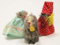 Vintage Original Fur Toys Dressed Mice Germany Pajamas Night Clothes Trio