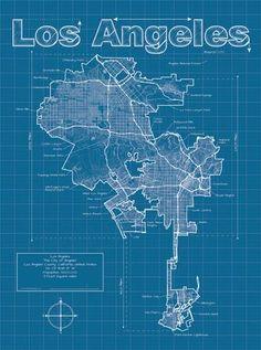 Los Angeles Artistic Blueprint Map Art Print by Christopher Estes at Art.com
