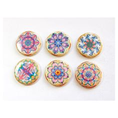 Mandala Magnets Magnets Button Magnets Locker Magnets Kitchen Magnets... (570 INR) ❤ liked on Polyvore featuring home, home decor, office accessories, home & living, kitchen & dining, kitchen décor, refrigerator magnets, silver, button magnets and door locker