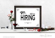 printable sign yes we're hiring sign instant by MadameLevasseur