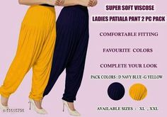 Ethnic Bottomwear - Patiala Pants Women fashoin styles dhoti patiyala Fabric: Viscose Rayon Multipack: 2 Sizes:  34 (Waist Size: 34 in Length Size: 40 in)  36 (Waist Size: 36 in Length Size: 40 in)  Country of Origin: India Sizes Available: 34, 36, 38, 40   Catalog Rating: ★4 (448)  Catalog Name: Feminine Women Patialas CatalogID_2190926 C74-SC1018 Code: 913-11615798-447