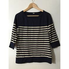 J. Crew Sweater Top Navy Nautical This navy & cream striped top is a staple for any J. Crew gal. It's tough to classify whether it's a sweater, technically it is, but the material is 100% cotton and it's essentially a super thick 3/4 sleeve t-shirt. The material and quality are amazing. Incredibly well-made piece. Excellent condition! J. Crew Sweaters Crew & Scoop Necks