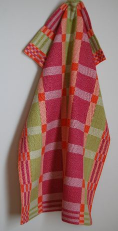 Handwoven Tea or Kitchen Towel Retro Blocks Brights White