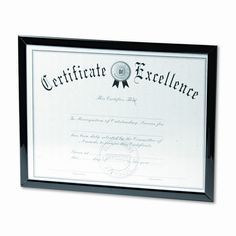 Value U-Channel Document Frame with Certificates, 8-1/2 x 11, Black